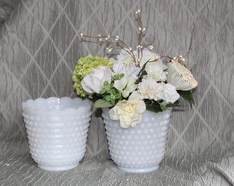 Milk Glass Vases  / Planters.  Fire King Anchor Hocking, Hobnail  pattern.  Vintage