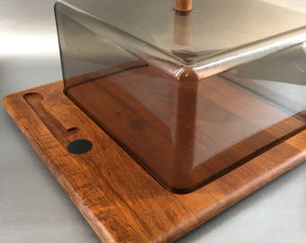 Digsmed Denmark Mid Century Modern Teak Covered Cheese Cutting Board