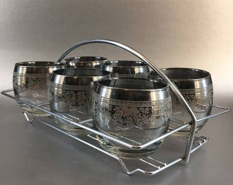 Vintage Silver Fade Set of 6 Roly-Poly Glasses And Rack Caddy Carrier Thorpe