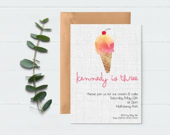 Ice Cream Invitation - summer party - girls party invite - Icecream invite - custom invite - ice cream party - Girls Party Invite