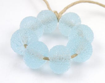 Sugared Pale Aqua SRA Lampwork Handmade Artisan Glass Donut/Round Beads READY to SHIP Set of 8 8x12mm