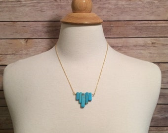 Turquoise Necklace, Bib necklace, gold and turquoise
