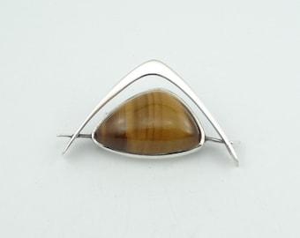 Beam Me Up Scotty!  Vintage Abstract Avant Garde Tiger's Eye Sterling Silver Brooch/Pin  #TREK-BR1