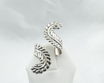 Adorable Sterling Silver Adjustable Size Leaf Ring Wraps Around Your Finger #LEAF-SR2
