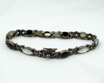 Vintage Sterling Silver Black Onyx, Mother-of-Pearl And Marcasite Link Bracelet  #B&W-LB1