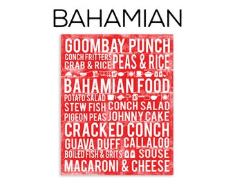 Bahamian Food Subway Art Print - Bahamian Food Poster - Various Sizes & Colors