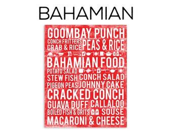 Bahamian Food Subway Art Print - Bahamian Food Poster - Various Sizes & Colors