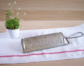 Antique grater cheese, tin grater, half moon grater 1950 vintage