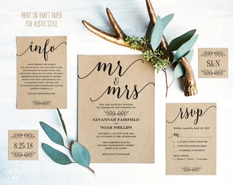 Modern Calligraphy Wedding Invitation, Printable Wedding Invitation Template, Simple Wedding Invitations, Editable Text, Mr Mrs VW10