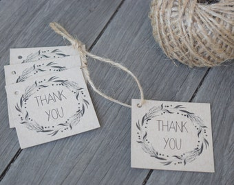 50 Kraft Wreath Thank You Tags - Weddings, Engagement, Christening and Birthday Celebrations