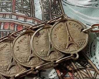 Rare Antique French Paris Art-Deco Eiffel Tower / Paris Landmarks Souvenir Bracelet-Arc de Triomphe,Notre Dame,Sacre Coeur