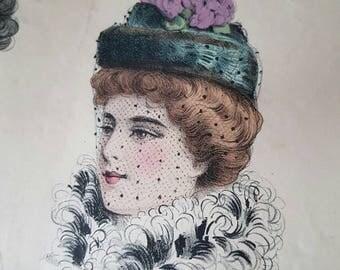 Rare Antique French Paris Art-Nouveau Supplement Prints-Société des Journaux de Modes Réunis Fascinator Hats / Chapeau Hatpins,Feathers etc