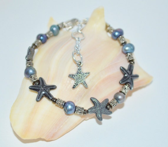 Ankle Bracelet Star Fish & Fresh Water Pearls, Pearl and Star Fish Anklet, Aged Silver Pearl Anklet, Sea Star Anklet with Pearls, Star Fish