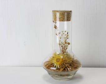 Vintage - Dried Flower Arrangement in Vase - Folk Art - Vintage Home Decor - Dried Flowers - 1970's