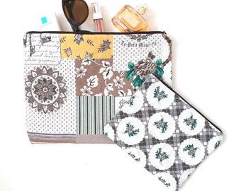Large Makeup Bag Set, Gift for Woman, Canvas Cosmetic Bag, Beauty Gift, Canvas Clutch, Large Makeup Bag, Canvas Makeup Bag, Toiletry Bag,