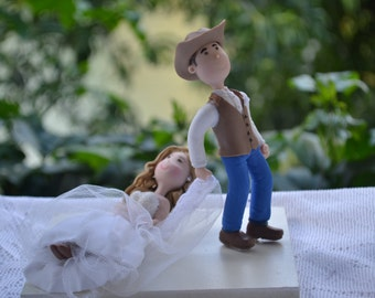 Groom dragging bride. Cowboy groom . Handmade. Fully customizable.