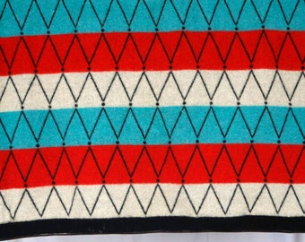 Eskimo Wool Blankets - Made in Denmark- Fantastic vintage thick wool blanket turquoise, white, red triangle diamond pattern reversible