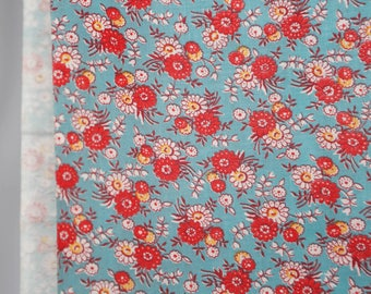 40's fabric - lightweight cotton w turquoise red and white small flowers - clothing, dress or quilting fabric