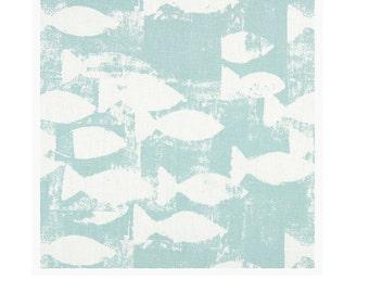 New Prestigious Textiles curtain interior furnishing fabric Geometric Fish Design Azure Duck egg Blue ideal for Cushion covers, crafts