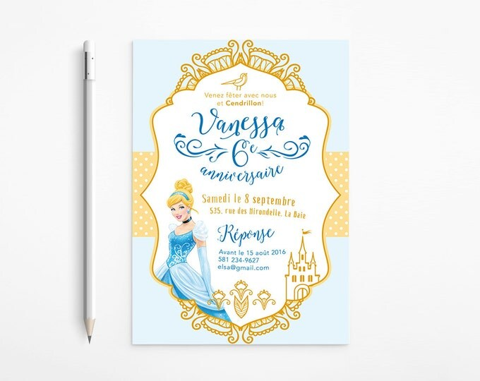 PRINTABLE - Cinderella Birthday Party Invitation - Princess - Girl - Dress - Gold - Whimsical - Blue - Disney - Fantasy - Coloring page