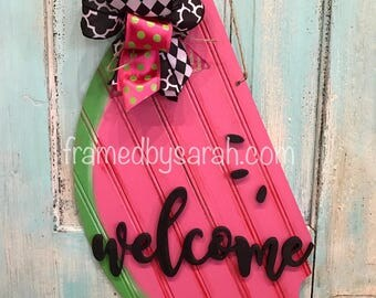 Beadboard Watermelon Door Hanger + Initial, Wood Cut out