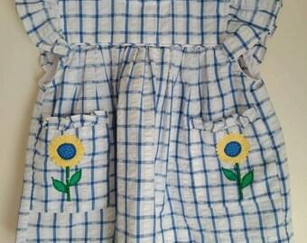 vintage baby clothes, 6/9 month baby girl dress, seersucker, Samara, two piece