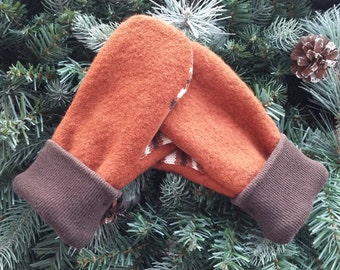 Children's Recycled Sweater Mittens, Wool Sweater Mittens, Rust and Brown Sweater Mittens, Wool Mittens - RSM000134