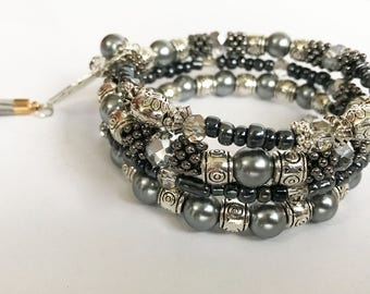 Gray Pearl Memory Wire Coil Bracelet