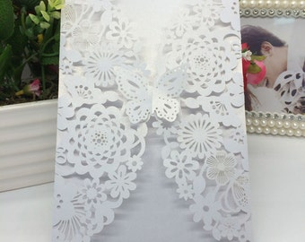 Paper Flower Carved Pattern Invitation Cards for Wedding & Party Decoration.
