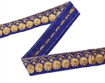 KK Indian Embroidered Prom Dress Border 1 Yd Trim Purple Craft Lace Zari Work