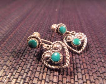 Tribal Sterling Silver Green Turquoise Earrings