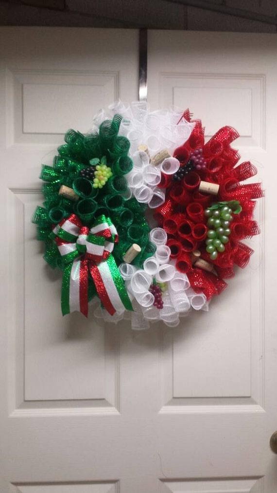 Italian Flag Wreath Italian Wreath Italy Flag Decor Wine