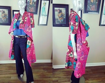 New Collection | Lace Ankara Print SHADíA JACKET DRESS with Pockets | Two-in-One Duster