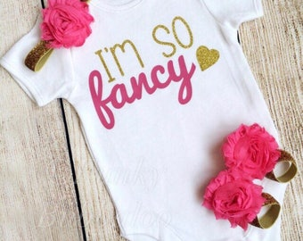 I'm So Fancy! Baby / Girl Outfit - Gold Glitter & Hot Pink - Bodysuit, Headband, Barefoot Sandals - Photoshoot, Baby Shower / Birthday Gift