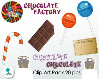 Chocolate Factory/Candy Digital Scrapbooking Clip Art, Buy 2 Get 1 FREE. Instant Download