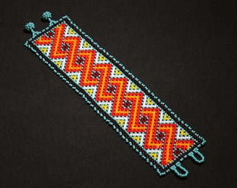 Geometric Huichol Bracelet, Tribal Geometric Bracelet, Beaded Cuff Bracelet, Native Beaded Bracelet, Seed Bead Bracelet, Authentic