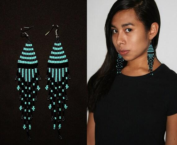 Bohemian Turquoise Black Dangle Earrings, Long Boho Earrings, Native American Beaded Earrings, Seed Bead Earrings, Tribal Fashion Earrings
