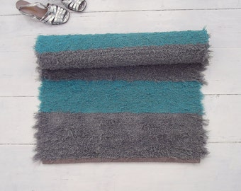 Grey and teal rug, soft and thick fluffy rug, striped rug, washable rug, reversible, handmade on the loom, ready to ship, 50% SALE