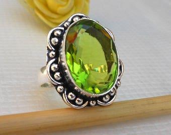 Green Peridot Quartz Peridot Ring Gemstone rings Peridot Silver Ring Birthstone Ring, August Birthstone Ring Size 8