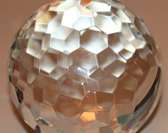 """Multi Faceted Crystal Ball Sculpture Baccarat? 5.5"""""""