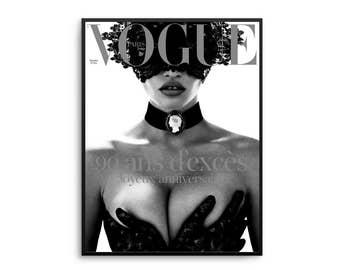 Vogue Paris Lace Print Poster Black and White Fashion Vogue Poster Fashion Decor Vogue Cover Vogue Magazine Vogue Paris Original
