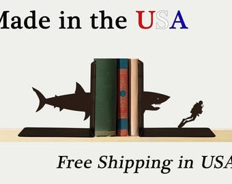 Shark and Scuba Diver Bookends, Ocean Decor, Metal Art, Book Ends, Book Shelf, Sealife Decor, Library, Home Decor, Free USA Shipping, BE1017