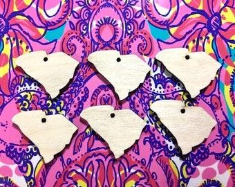 1.25 Inch One Hole South Carolina Blanks in wood, clemson south carolina earrings, jewelry making, earring blanks, diy earrings, wood blanks