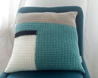 Crochet Graphic Cushion Cover . Mint