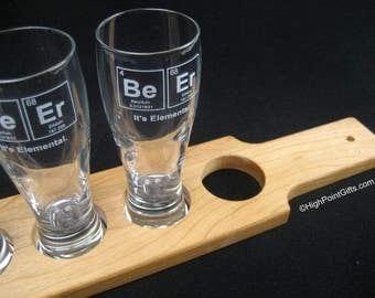 Beer Flight Set - Beer Paddle - 4 Beer Tasting Glasses - Beer Is Elemental Sampler - Christmas Gift - Beer Flight Board - Beer Tasting Party