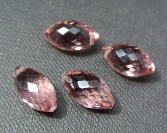 2 Pair Plum Quartz Faceted Rice Briolette Size 14x8mm Approx