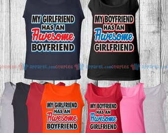Aweseome Girlfriend & Awesome Boyfriend - Matching Couple Tank Top - His and Her Tank Tops - Love Tank Tops