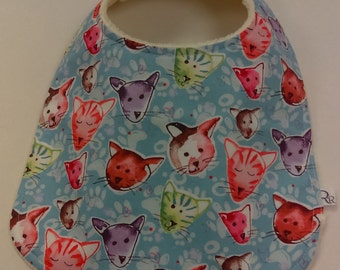 Baby bib, toddler bib, new baby gift, baby shower, kitty cat print, modern, cute