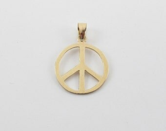 14k Yellow Gold Peace Charm Pendant
