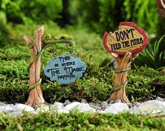 Fairy Garden  - Enchanted Forest Signs Set of 2 - Miniature